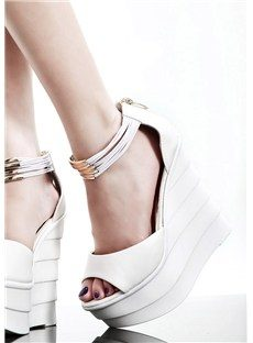 Fashion Wedge Heels Peep-toes Shoes with Metal Decorations on Ankle