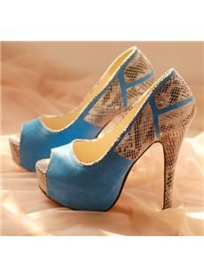 Fashionable Assorted Color SnakeSkin Peep-toe Stiletto Heels