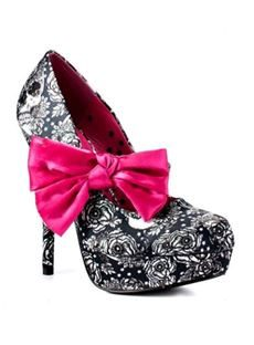 Fashionable Black & White Coppy Leather Flower Print High Heel Shoes