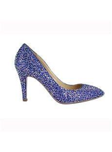 Fashionable Blue Suede Upper Stiletto Heel Wedding Shoes