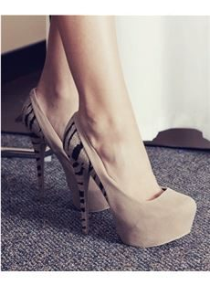 Fashionable Camel Suede Zebra Print Platform High Heel Shoes