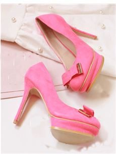 Fashionable Candy Colour Round Toe Thick Platform Bowtie Decoration High Heel Shoes