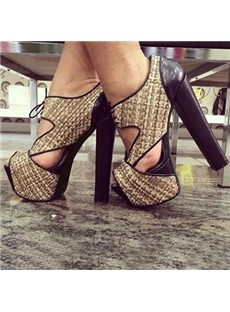 Fashionable Cut-Outs Chunky Heels Ankle Boots