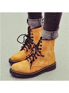 Fashionable Dull Polish Lace-up Flat Boots