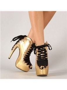 Fashionable Flag Print Stiletto Heel Lace-Up Ankle Boots