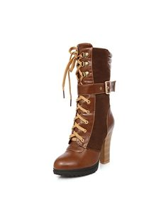 Fashionable Lace-up Closed-toes Chunky Heels Boots