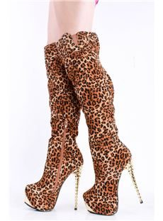 Fashionable Leopard Suede Women's Knee High Heel Boots