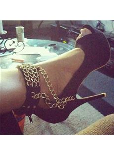 Fashionable Metal Chains Ankle Wrap Platform Peep-Toe Stiletto Heels