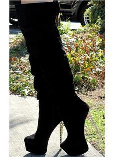 Fashionable Nubuckle Leather Meatal Rivets Heel Platform Knee High Boots