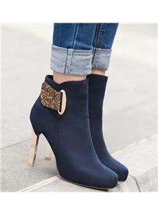 Fashionable OL Style Rhinestone Ankle Boots