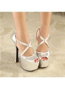 Fashionable PU Stiletto Heel Platform Ankle Strap High Heel Shoes