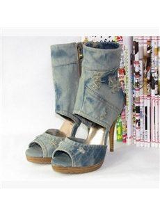 Fashionable Peep-Toe Cut-Outs High Heels Boots