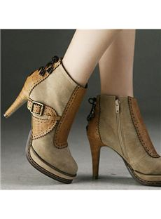 Fashionable Platform Stiletto Heels Ankle Boots With Buckle