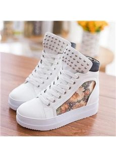 Fashionable Rivet Flower Print High-top Canvas Shoes
