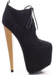 Fashionable Solid Colour Lace-Up Wood Print Stiletto Heel Ankle Boots