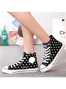 Fashionable Star Print Lace up Canvas Shoes
