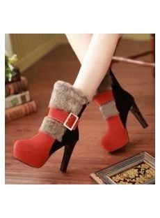 Fashionable & Warm Leather Platform Heel Ankle Boots