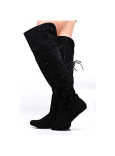 Fashionable Wave Point Suede Knee High Flat Boots