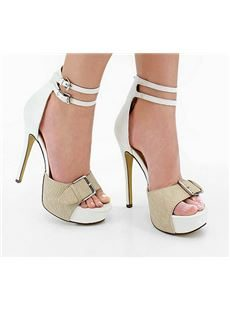 Fashionable White & Camle Contrast Colour Ankle Strap High Heel Shoes
