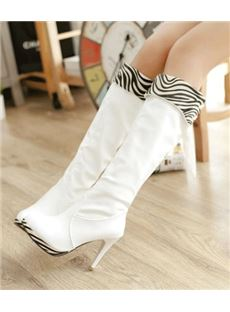 Fashionable Zebra Print Stiletto Heel Platform Knee High Boots