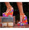 Flower Print Wedge Heel Sandals