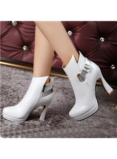 Glamorous  Genuine Leather Buckle Decorated Ankle Boots