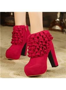 Glamorous Red Lace Bridal Ankle Boots