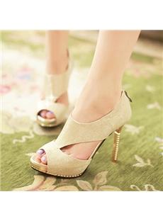 Glamorous Rhinestone Cut-Outs Dress Sandals