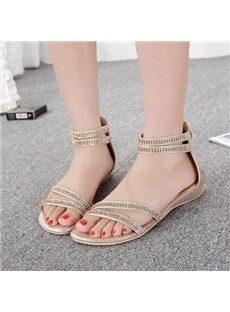 Glamorous Rhinestone Strap  Comfortable Flat Sandals