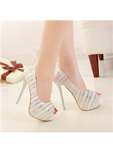 Glamorous Sequin  Platform Stiletto Peep-Toe Heels