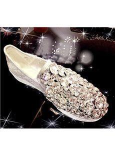 Glaring  Flat Heels with Shining Rhinestones & Glitter