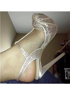 Glittering Rhinestone Platform Stiletto Heel Dress Sandals
