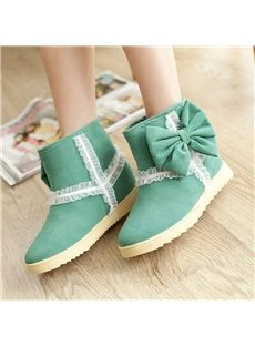 Good-Looking Wool Inner Green Snow Boots with Bowknot