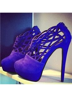 Gorgeous Blue Cut-Outs Platform Ankle Boots