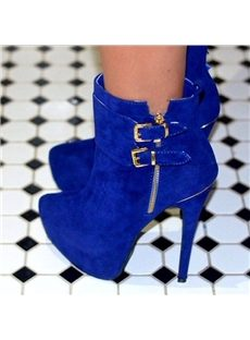 Gorgeous Blue Side Buckle Ankle Boots