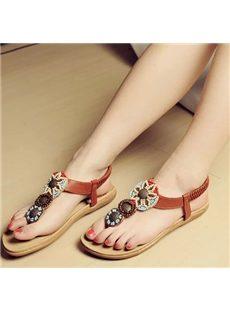 Gorgeous Bohemian Style Beading Flat Sandals