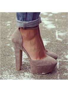 Gorgeous Camel Suede Solid Colour Chunky Heel High Heel Shoes