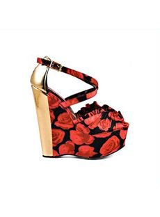 Gorgeous Flower Peep Toe Print Wdge Heel Shoes