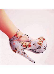 Gorgeous Flower Print Coppy Leather Ankle Strap High Heel Shoes