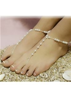 Gorgeous Hand Knits White Beads Anklets
