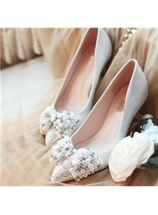 Gorgeous Pearl & Amazing Bowtie Flat Heel Shoes