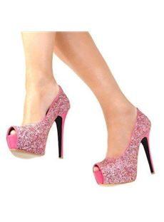Gorgeous Pink Coppy Leather Platform High Heel Sandals witn Amazing Rhinestone