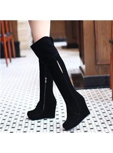 Gorgeous Pure Black Knee High Boots
