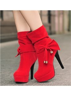 Gorgeous Red Bowknot High Heel Boots
