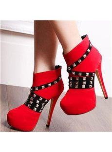 Gorgeous Rivets Platform Heel  Ankle Boots