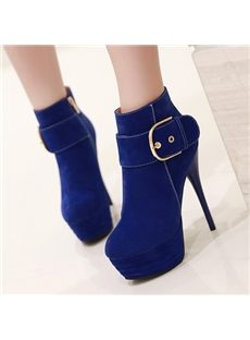 Gorgeous Side Buckle Decoration Ankle Boots