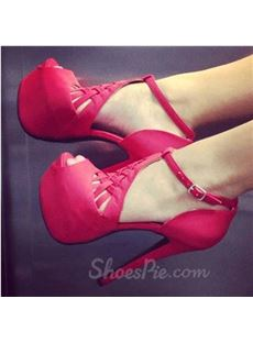 Gorgeous Suede Cut-Outs Ankle Strap High Heel Shoes