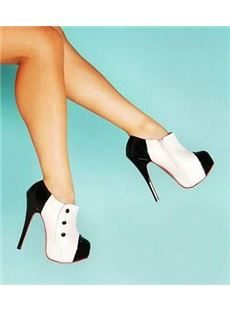 Gorgeous White & Black Contrast Colour Ankle Boots