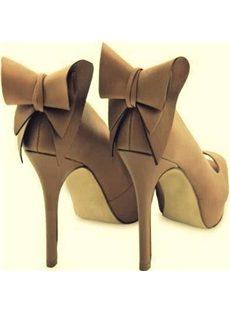 Graceful Bowknot Peep-Toe Platform Heels