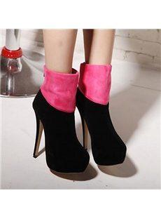 Graceful Contrast Color Ankle Boots